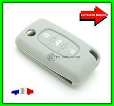 Étui Housse Protection Télécommande Clé Plip Peugeot  3 Boutons Coffre GRIS