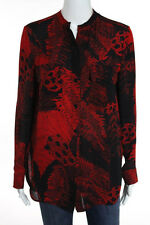 Raquel Allegra Red Black Silk Floral Print Long Sleeve Blouse Top Size 0