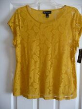 INC Gold Leaf Sheer Top Size XL