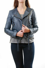 Denham Women's Warlock LL Leather Jacket Indigo Size L BCF511