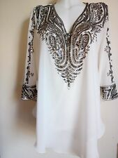 NEW SILVER SEQUINS BLOUSE WHITE VEST SHIRTS WEDDING TOPS TUNIC CAFTAN PARTY SEXY