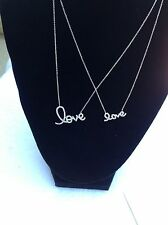 Mother-Daughter  STERLING SILVER  'LOVE' in Script * 2 Necklaces MJ-1A