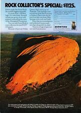 "1975 Ayers Rock Australia photo ""World's Biggest Monolith"" Qantas Airlines AD"