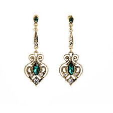 E2309 Bohemia Vintage Earrings Emerald Gems Crystals Hollow Out Floral Earrings