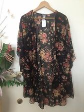NWT black CHARLOTTE RUSSE sheer floral cover up kimono long top LARGE