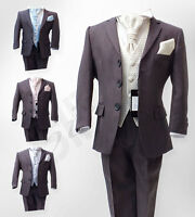 Boys Grey 5 Pieces Pageboy Wedding Suits Grey & Ivory Suits Age 6 M to 15 Years