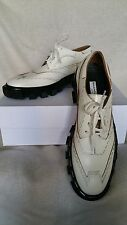 Balenciaga Stapled Oxford Lug Topstitch White Leather Lace-Up 39.5 8.5 8 Derby