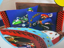 New Mario Kart Wii Super Mario Race Reversible Standard Pillowcase - Red, Blue