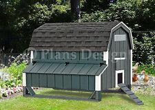 5'x6' Chicken Coop Plans, Gambrel / Barn  Roof Style Design 90506MB