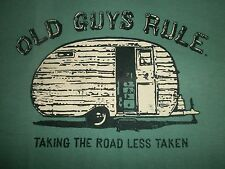 "OLD GUYS RULE 100% SPUN COTTON FRONT PRINT LOGO ""TAKING THE ROAD LESS TAKEN"" L"