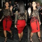 Women Ladies Kim Kardashian Celebrity Mesh Skull Long Sleeve Bodycon Midi Dress