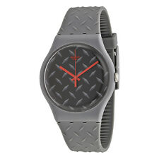 Swatch TEXT-URE Matte Black Dial Quartz Mens Watch SUOM102