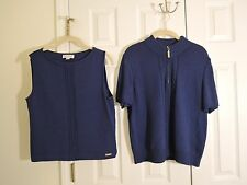 ST. JOHN Sport Navy Blue Sweater Cardigan & Sleeveless Cami Set Womens Medium
