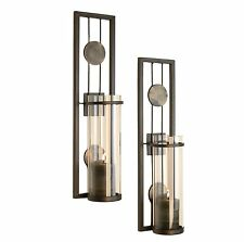 Candle Wall Sconce Holder Metal Glass Pair Decor Vintage Indoor Modern Art Home
