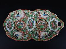 Antique Chinese Rose Medallion Double dish plate with Handle  Rare !!  8.5 inche