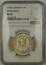 1928D Germany Dinkelsbuhl 3M Three Marks Silver Coin NGC MS-64