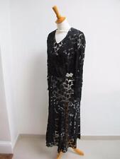 Vintage années 1930 coupe en biais dentelle noire robe de soirée & veste avec strass boucle