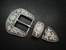 WESTERN RHINESTONE CRYSTAL BELT BUCKLE SET 1-1/2""