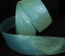 """5 Yds Peacock Blue Green Teal Mermaid Iridescent Wired Ribbon 2 1/2""""W"""