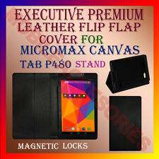 ACM-EXECUTIVE LEATHER FLIP CASE for MICROMAX CANVAS TAB P480 TABLET COVER STAND