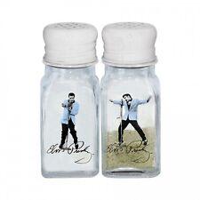 Elvis Presley The King Blue Jacket Vintage Glass Salt And Pepper Shaker Set