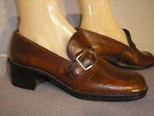 7.5 NEW Vtg 70s MOD BROWN BUCKLE LOAFER CHUNKY HEEL SLIP ON PUMP NOS HIPPIE Shoe