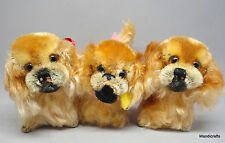 Steiff Peky Pekinese Dog x 3 Mohair Plush 10cm 4in 1960s One ID Button Tag Vtg