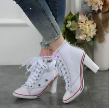 Womens Rivet High Heel Denim Canvas Lace Up High Top Sneaker Shoes White 8
