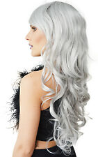 Silver Grey- Long Curly- (High Quality) Wig - Fancy Dress/Festivals
