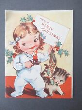 Vintage CHRISTMAS Card Children's 1960s Little Girl with Kitten & Stocking
