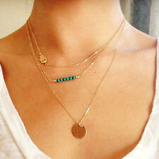 NiX 1448 Women Girl 3 Layer Gold Plated Chain Crystal Necklace Pendant Trendy CZ