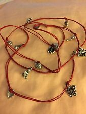 "Grandmas Estate 48"" Boho Hippie Silvertone Red Necklace Charms"