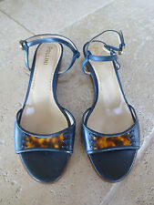 POLLINI WOMENS SHOES SANDALS OPEN TOE NWOB NAVY TORTOISE 37/6.5