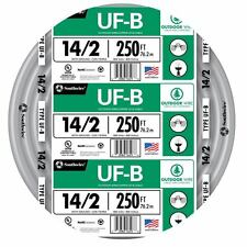 250' Roll 14-2 AWG UF-B Gauge Outdoor Burial Electrical Feeder Copper-Wire Cable
