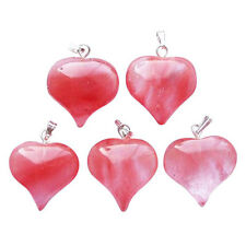 5 CHERRY QUARTZ Crystal Puff HEART Pendants 18mm