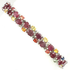 93 CTS! LUXE! NATURAL BLOOD RED RUBY- MULTI-COLORED SAPPHIRE 925 SILVER BRACELET