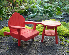 Dollhouse Miniature Fairy Garden Adirondack Chair & Table Set, RED