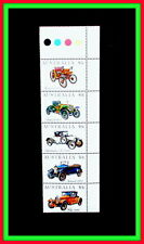 VINTAGE CARS AUSTRALIAN STAMPS - 5 MINT WITH COLOUR BAR