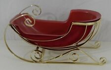 "Teleflora Holiday Gold Toned Sleigh a/ Red Insert Christmas Decoration 10"" Long"