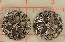 12 beautiful metal filigree buttons little star center Pewter color XL 28mm