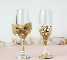 Wedding rustic glasses set champagne toasting flutes Mr and Mrs his and hers