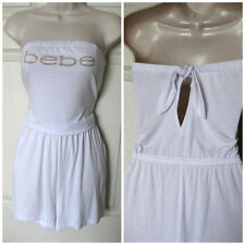 BEBE LOGO WHITE BACK TIE STRAPLESS ROMPER JUMPSUIT NEW NWT MEDIUM M