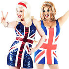 1990s Union Jack Ladies Fancy Dress 90s British Ginger Spice Girl Womens Costume
