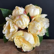 Bunch of 7 Yellow Artificial Peonies - Faux Silk Peony Flowers