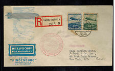 1936 Lorch Germany Hindenburg Zeppelin first flight cover FFC to USA  LZ 129