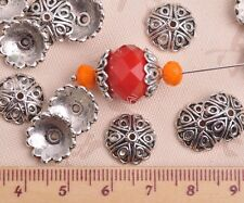 30pcs 12mm Round Tibetan Silver 6 Heart Caps Charm Loose Spacer Beads Findings