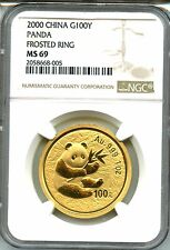 CHINA 2000  PANDA  GOLD   NGC MS 69    1  OZ   100 YUAN  FROSTED RING    RED HOT