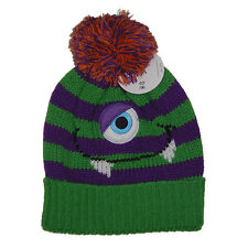 Purple Green Striped Monster Beanie Knit Hat Ski Cap 80s 90s Gothic Horror Punk