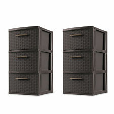 Set of 2 Espresso Plastic Storage Box Organizer NEW 3 Drawer Storage Weave Cart