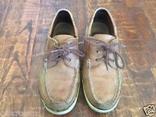 HUSH PUPPIES Brown TAN Rockford BOAT Shoes LOAFERS * 9 W * pre-worn * LEATHER *